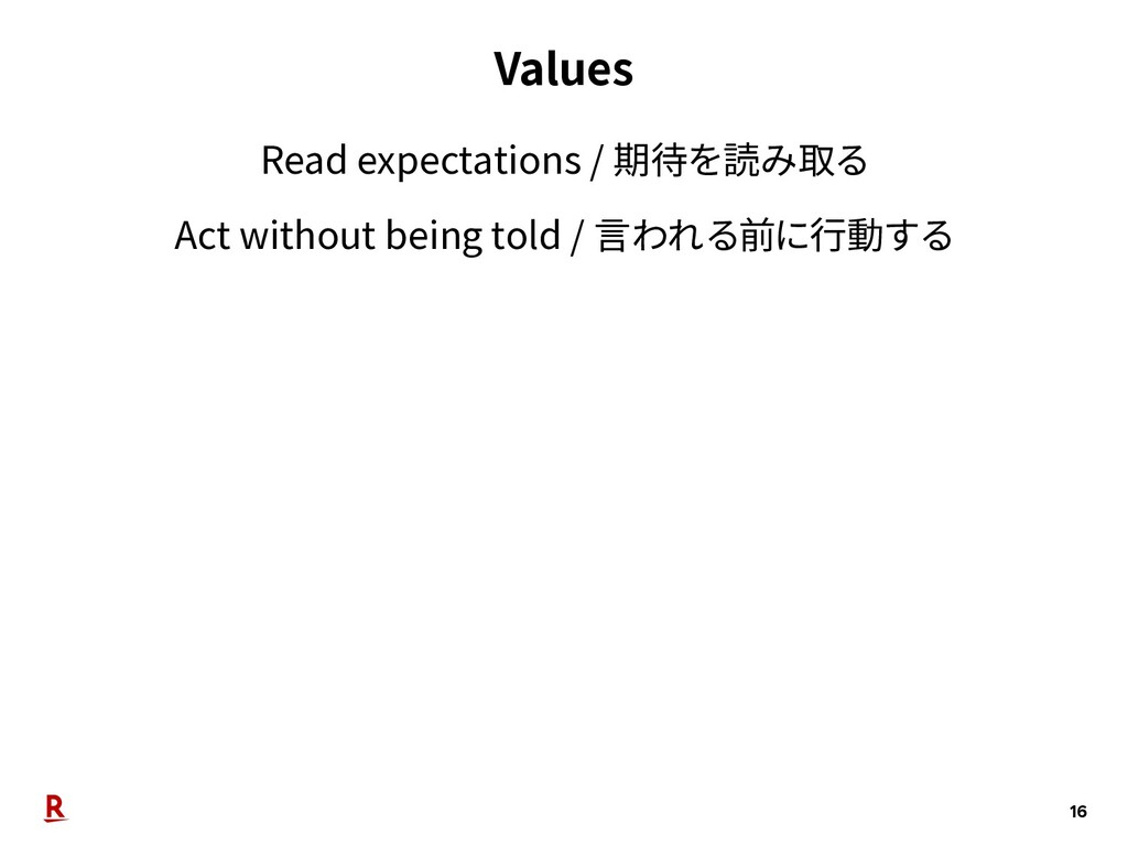 Values 16 Read expectations / 期待を読み取る Act witho...