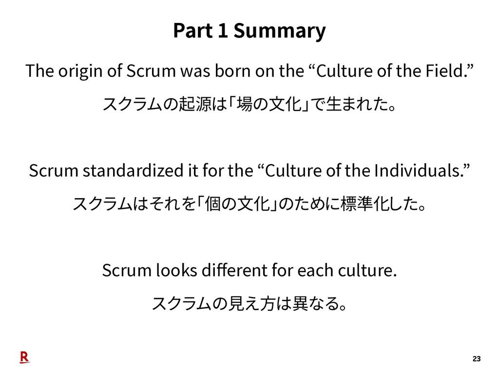 Part 1 Summary 23 The origin of Scrum was born ...