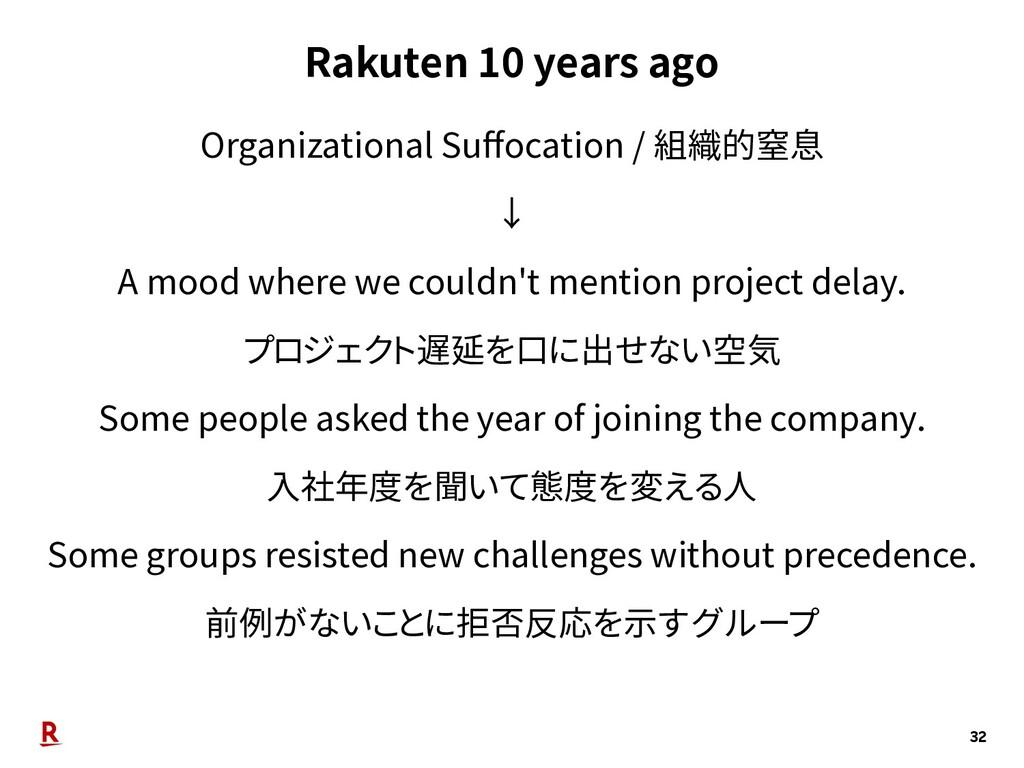 Rakuten 10 years ago 32 Organizational Suffocati...