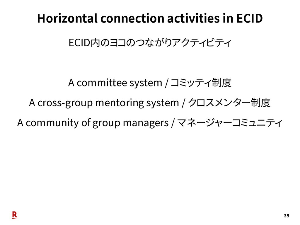 Horizontal connection activities in ECID 35 ECI...