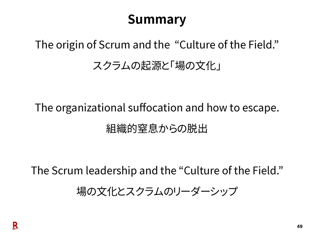 "Summary 49 The origin of Scrum and the ""Culture..."