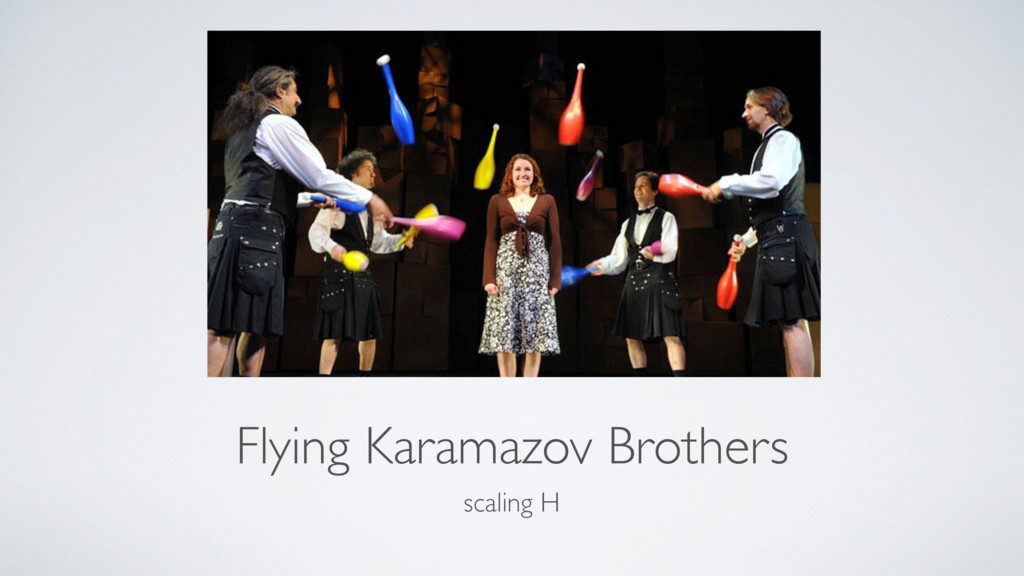 Flying Karamazov Brothers scaling H