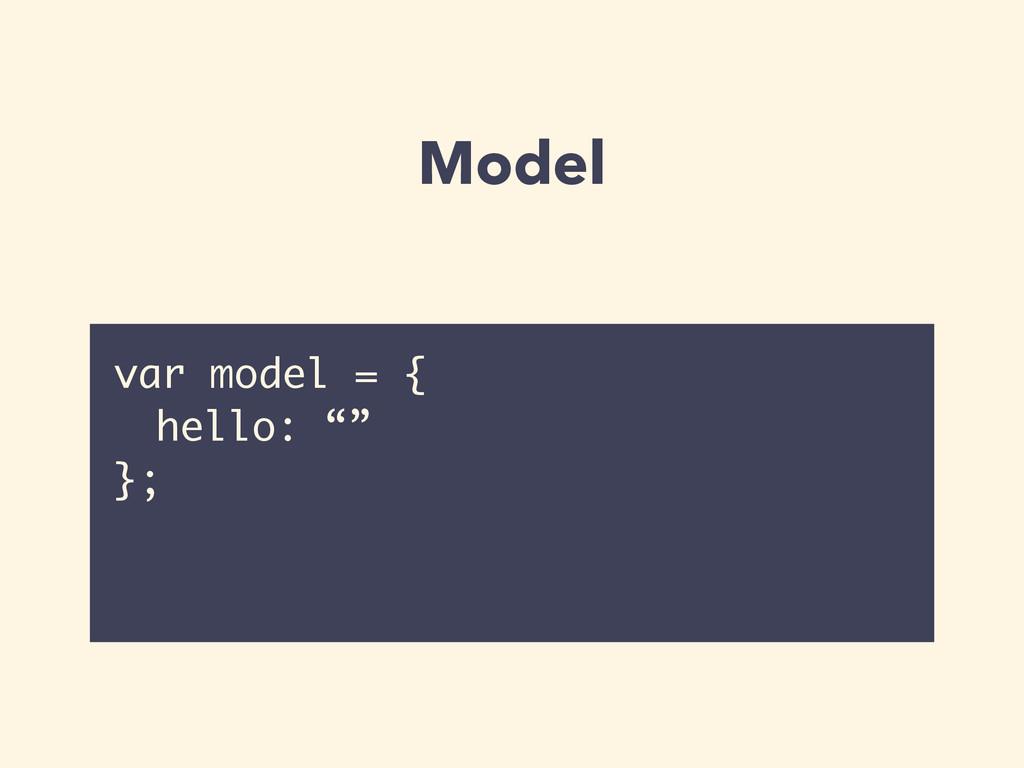 """Model var model = { hello: """""""" };"""