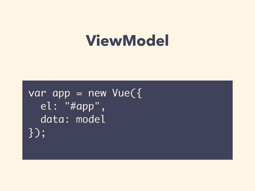 """ViewModel var app = new Vue({ el: """"#app"""", data:..."""