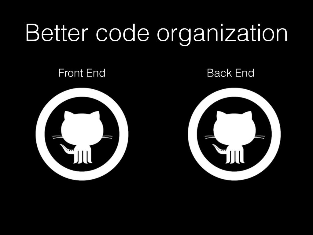 Better code organization Front End Back End