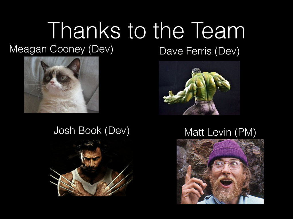 Thanks to the Team Dave Ferris (Dev) Meagan Coo...