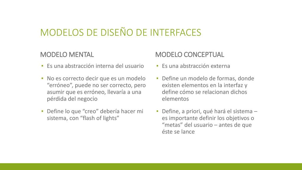 MODELOS DE DISEÑO DE INTERFACES MODELO MENTAL ▪...