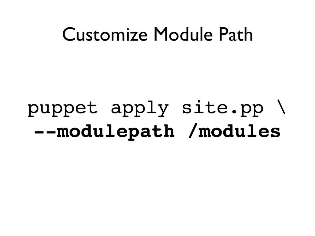 puppet apply site.pp \! --modulepath /modules C...