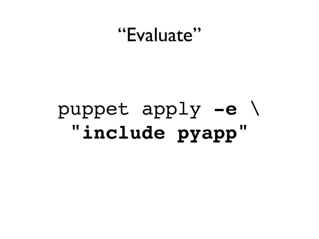 "puppet apply -e \! ""include pyapp"" ""Evaluate"""