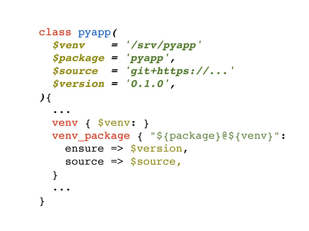 class pyapp(! $venv = '/srv/pyapp'! $package = ...