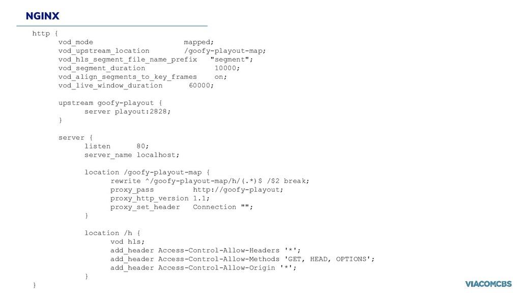 NGINX http { vod_mode mapped; vod_upstream_loca...