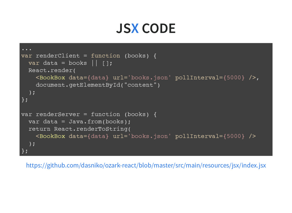 JS CODE X ... var renderClient = function (book...