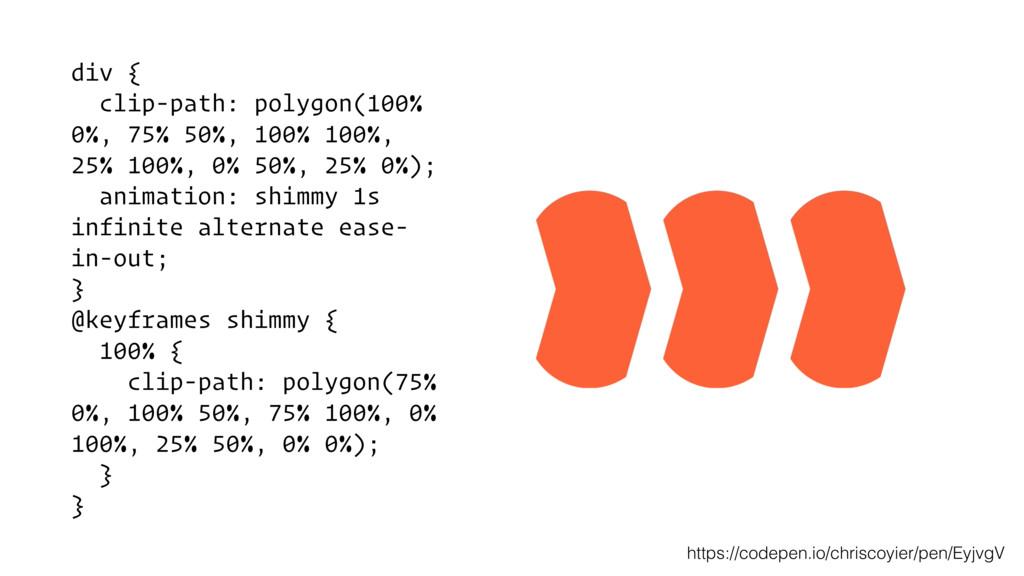 div { clip-path: polygon(100% 0%, 75% 50%, 100%...