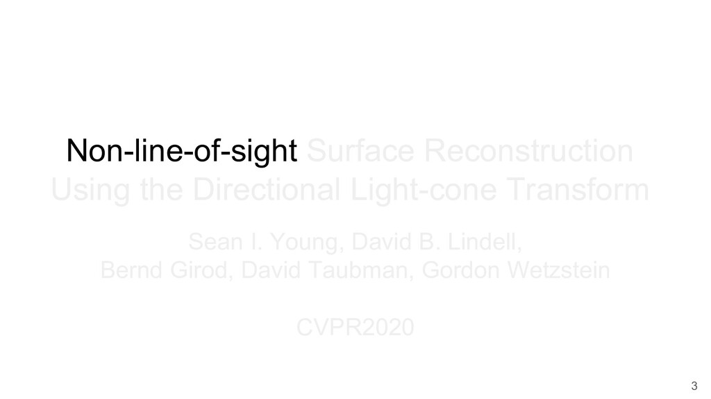 Non-line-of-sight Surface Reconstruction Using ...