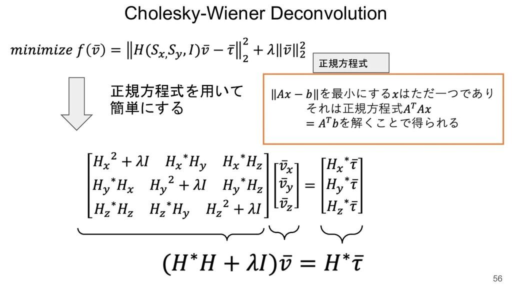 Cholesky-Wiener Deconvolution 56 正規方程式を用いて 簡単にす...