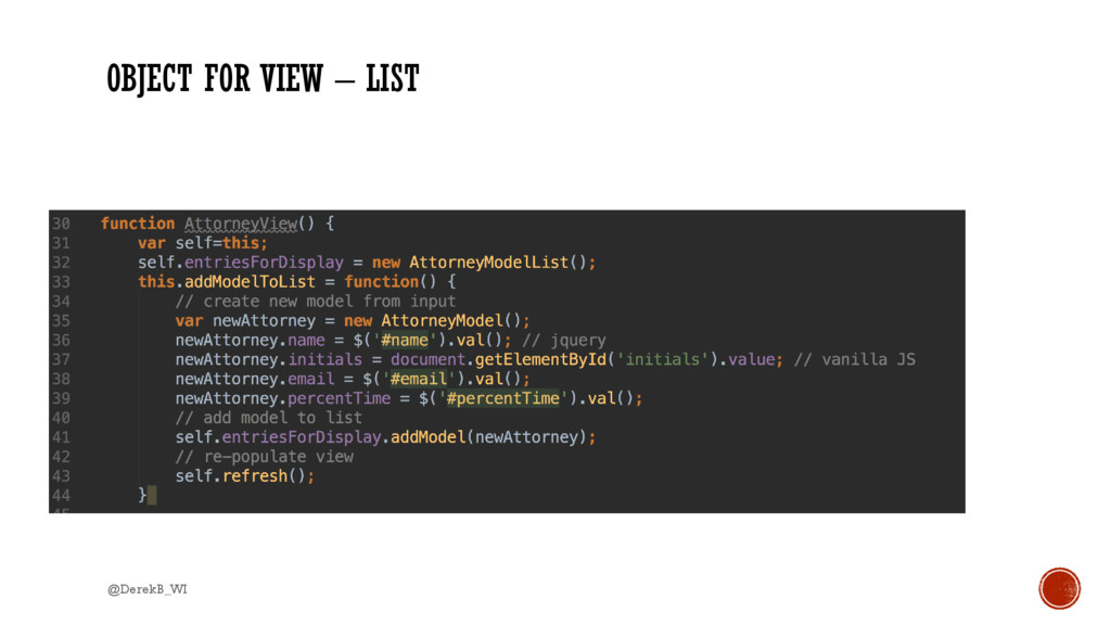 OBJECT FOR VIEW – LIST @DerekB_WI