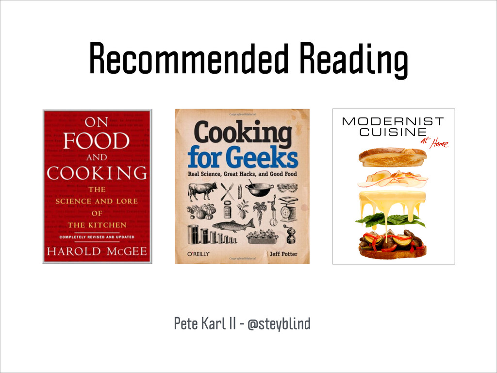 Recommended Reading Pete Karl II - @steyblind