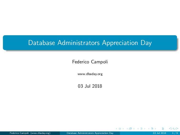 Database Administrators Appreciation Day Federi...