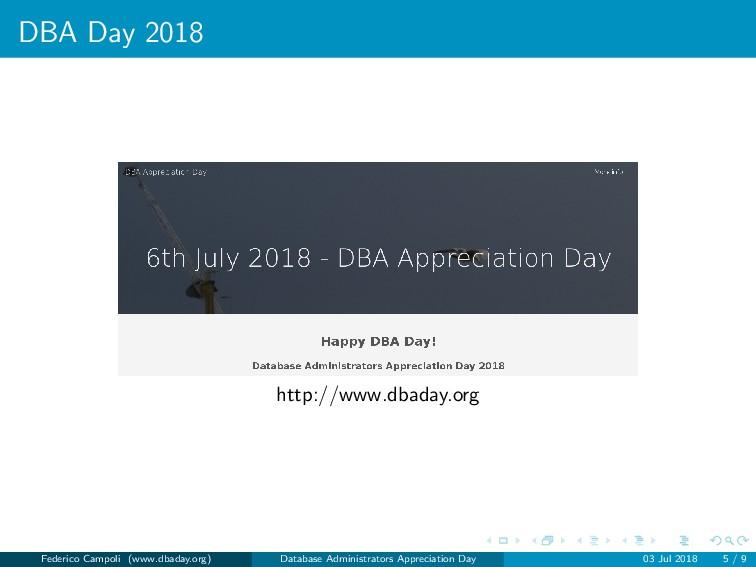 DBA Day 2018 http://www.dbaday.org Federico Cam...
