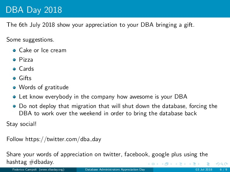 DBA Day 2018 The 6th July 2018 show your apprec...
