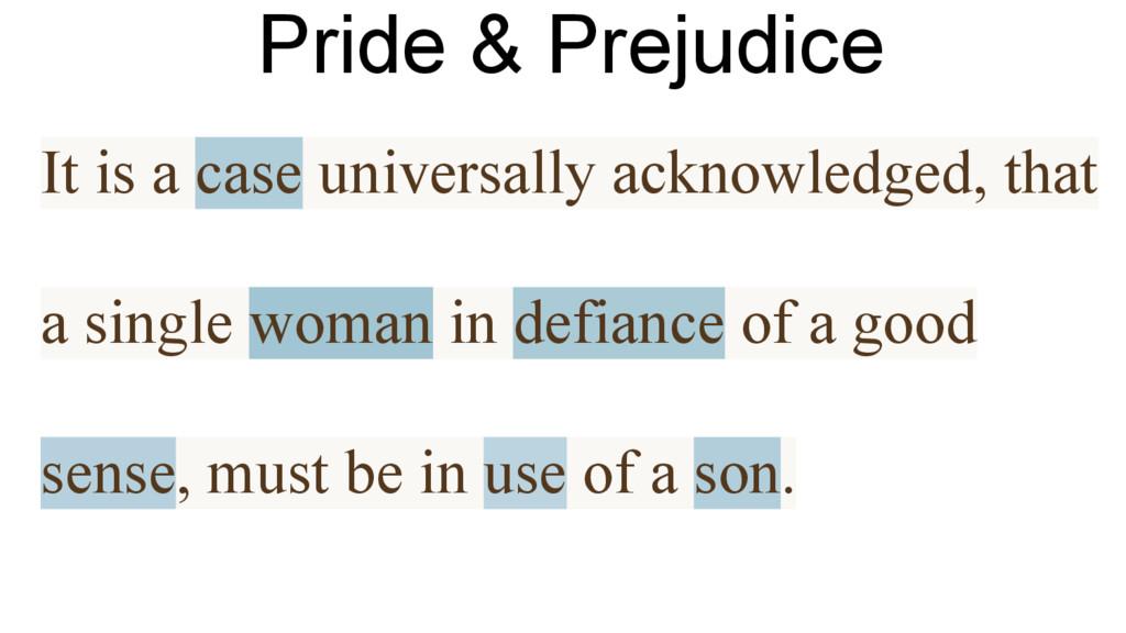 Pride & Prejudice It is a case universally ackn...