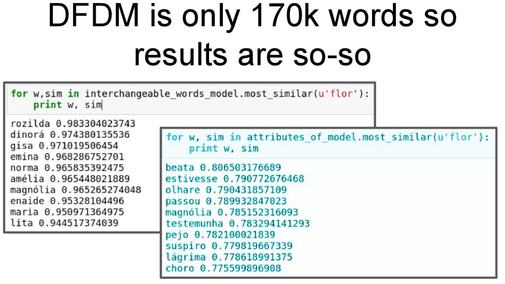 DFDM is only 170k words so results are so-so