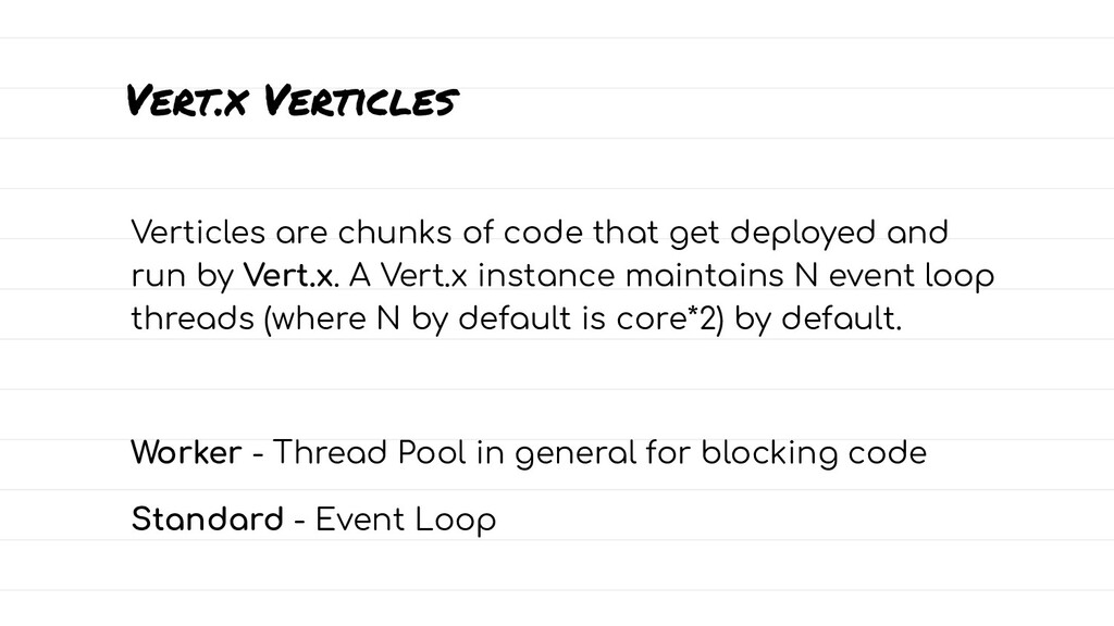 Vert.x Verticles Verticles are chunks of code t...