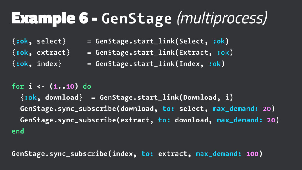Example 6 - GenStage (multiprocess) {:ok, selec...