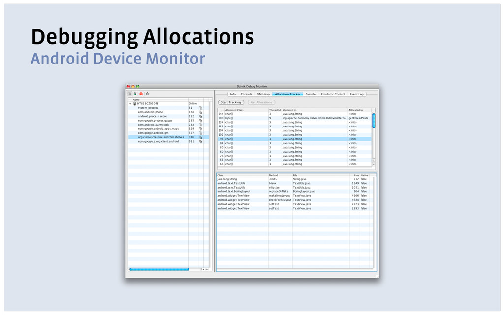 Debugging Allocations Android Device Monitor