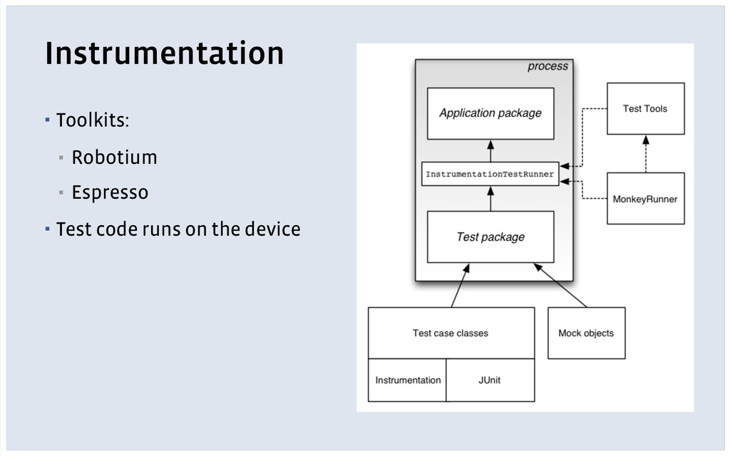 Instrumentation ! ▪ Toolkits: ▪ Robotium ▪ Espr...