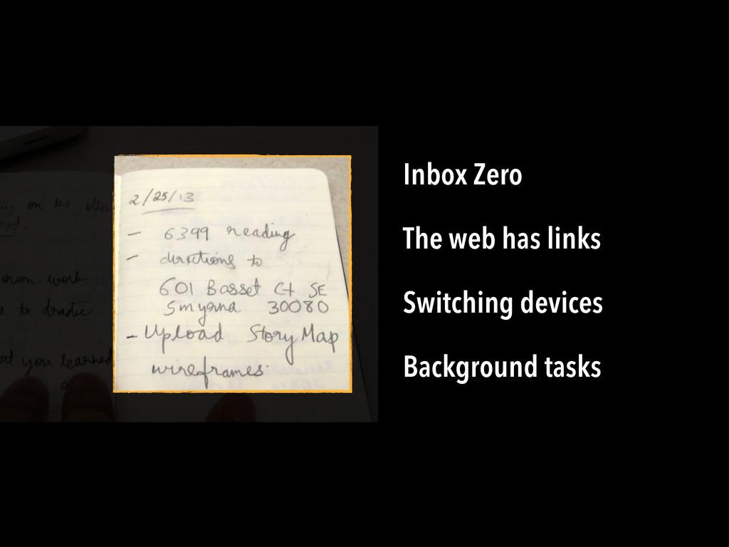 Inbox Zero The web has links Switching devices ...