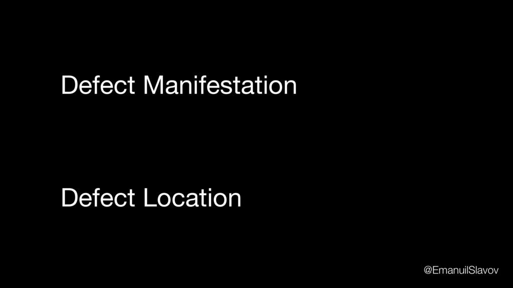 Defect Location Defect Manifestation @EmanuilSl...