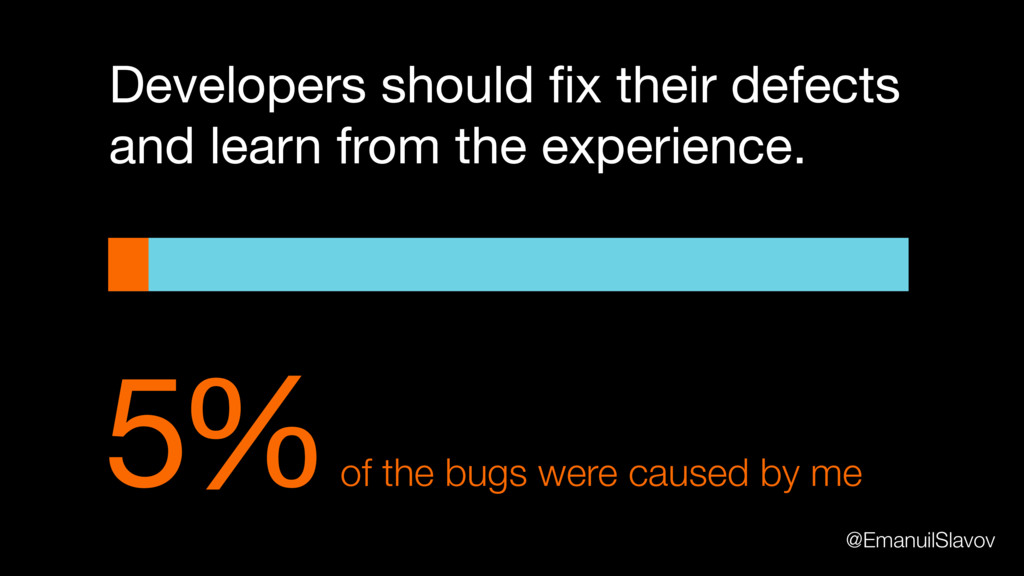 5% of the bugs were caused by me Developers sho...