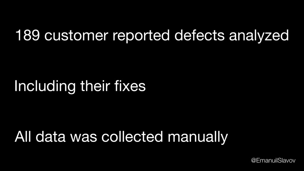 189 customer reported defects analyzed All data...