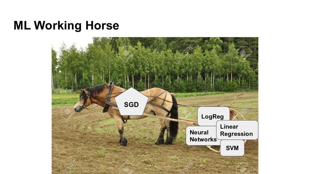 ML Working Horse SGD LogReg Neural Networks SVM...