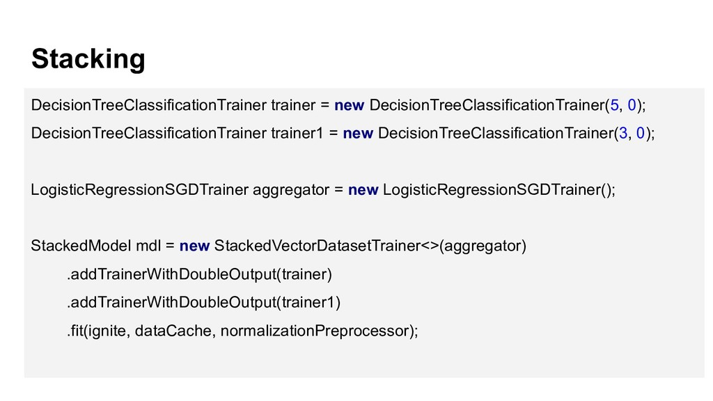 Stacking DecisionTreeClassificationTrainer trai...