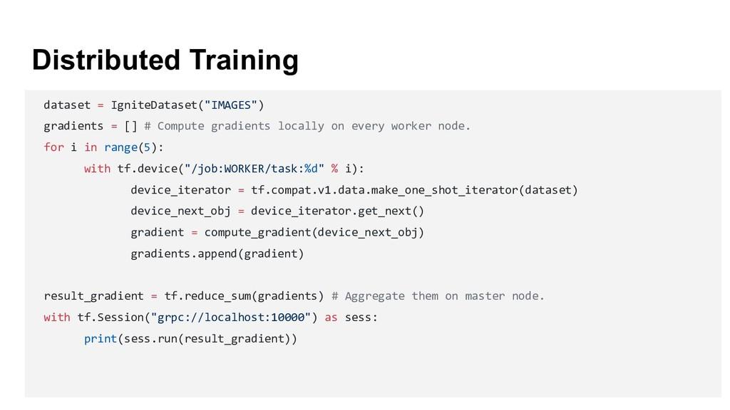 """Distributed Training dataset = IgniteDataset(""""I..."""