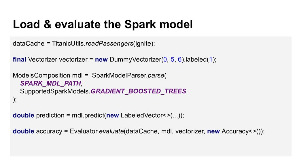 Load & evaluate the Spark model dataCache = Tit...