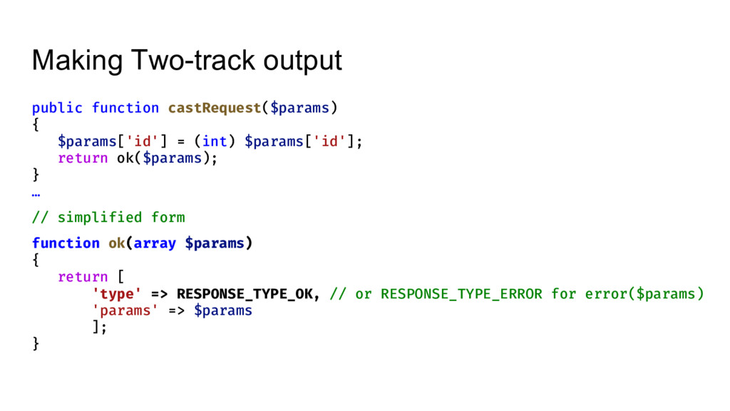 Making Two-track output public function castReq...