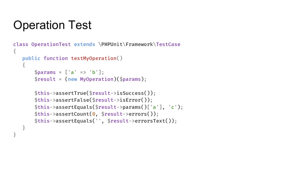 Operation Test class OperationTest extends \PHP...