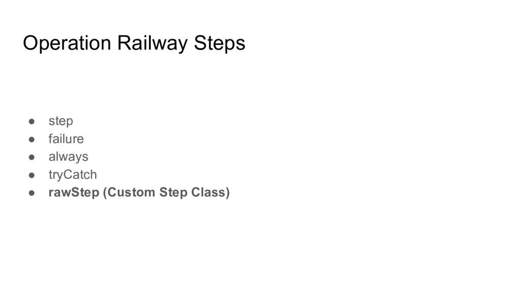 Operation Railway Steps ● step ● failure ● alwa...