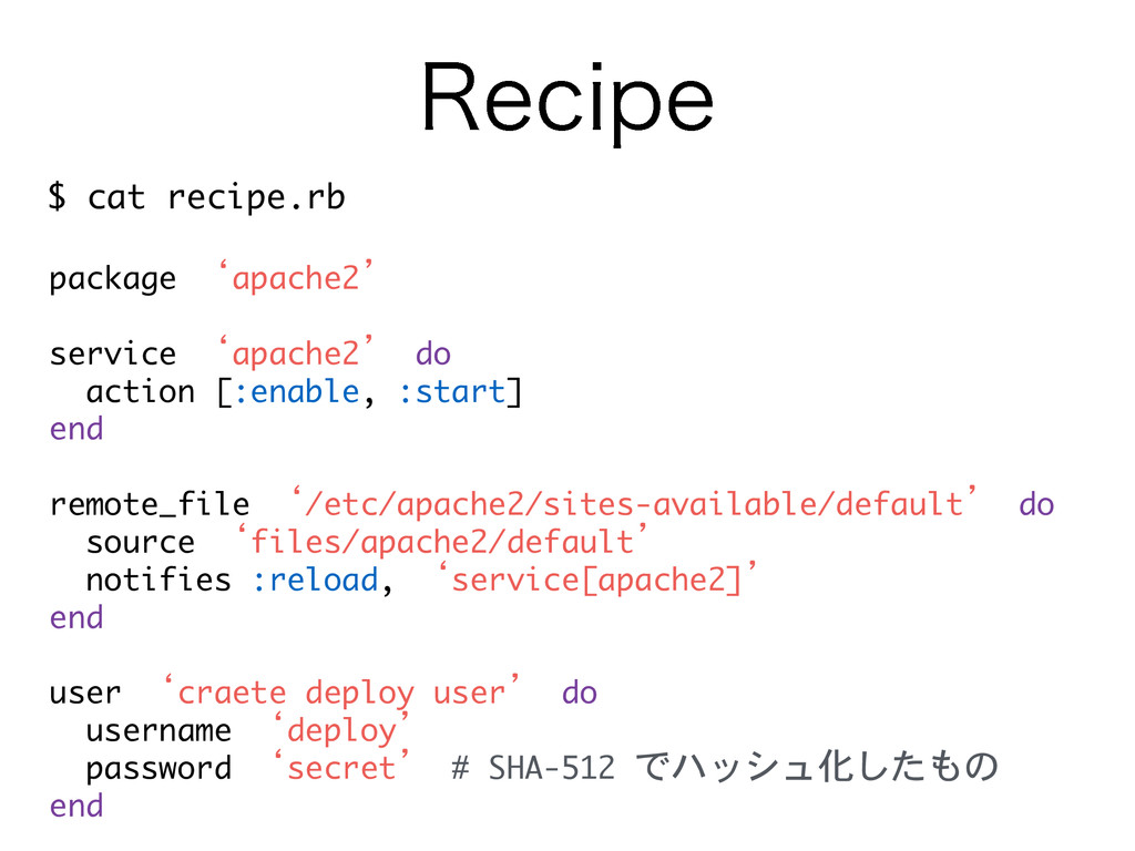 3FDJQF $	 cat	 recipe.rb package	 'apache2' 