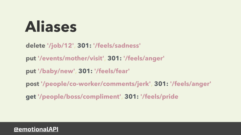 @emotionalAPI Aliases delete '/job/12', 301: '/...