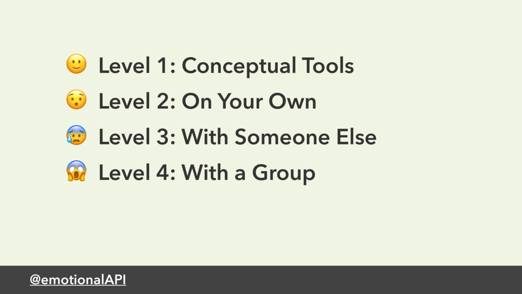 @emotionalAPI  Level 1: Conceptual Tools  Level...