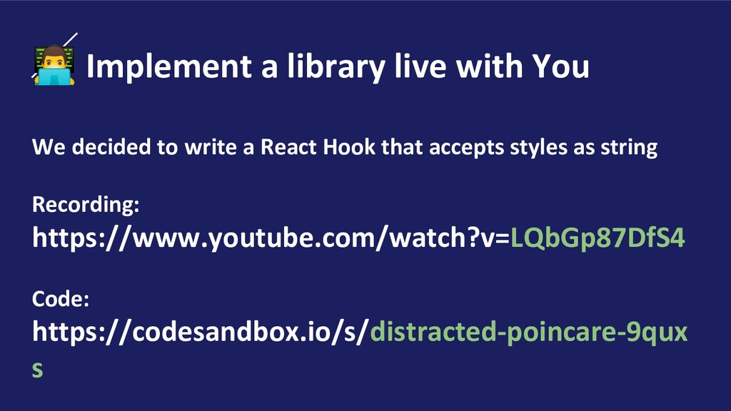 ‍ Implement a library live with You We decided ...