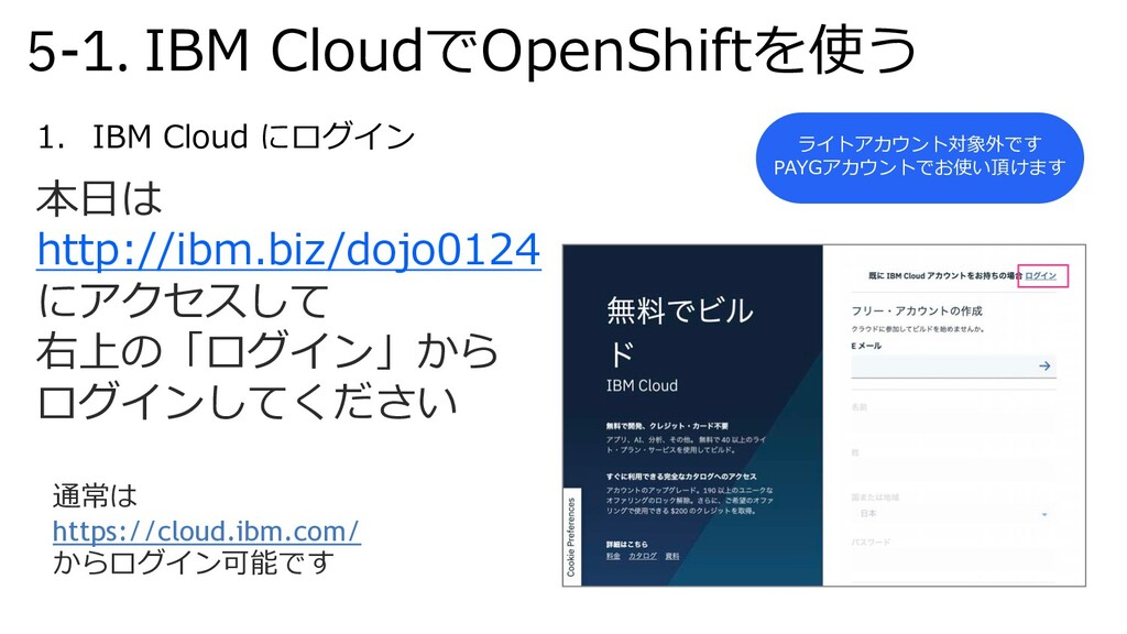 5-1. IBM CloudでOpenShiftを使う 1. IBM Cloud にログイン ...