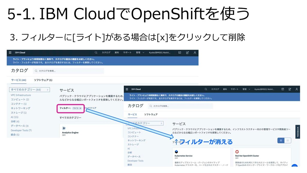 5-1. IBM CloudでOpenShiftを使う 3. フィルターに[ライト]がある場合...