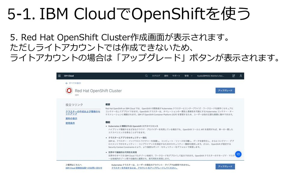 5-1. IBM CloudでOpenShiftを使う 5. Red Hat OpenShif...