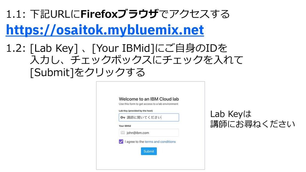 1.1: 下記URLにFirefoxブラウザでアクセスする https://osaitok.m...
