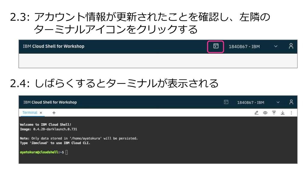2.3: アカウント情報が更新されたことを確認し、左隣の ターミナルアイコンをクリックする 2...